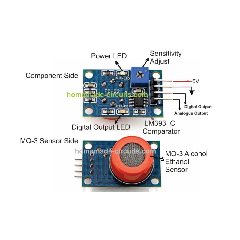 ماژول سنسور تشخیص الکل MQ-3